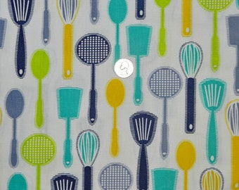 Kitchen Fun Spatulas and Spoons in Charcoal - Fabric By The Yard