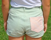 Mint High waisted shorts with pink striped pocket size 4