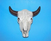 Ceramic Cow, Steer or Buffalo Skull -6 inches wide, hand painted, fathers day gift