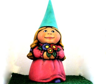 Ceramic Female Garden Gnome - 11 inches, hand painted lawn or garden gnome, outdoor or indoor