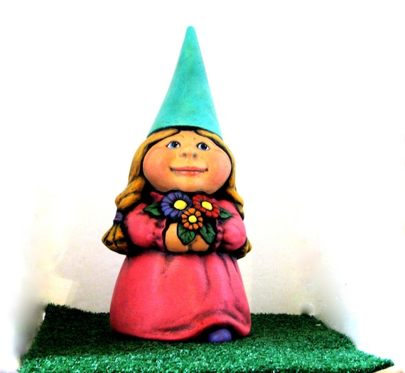 Ceramic Female Garden Gnome 11 inches hand painted lawn or