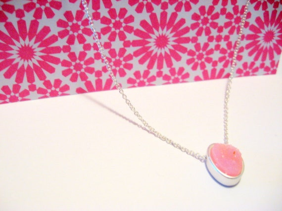 Pink Druzzy Necklace on Silver Chain