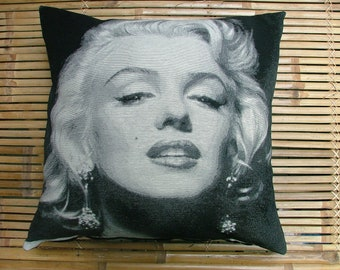 """Iconic MARILYN MONROE cushion or pillow, quality woven design. Hand sewn Hollywood glamour screen idols. 50cm or 20"""" sq."""