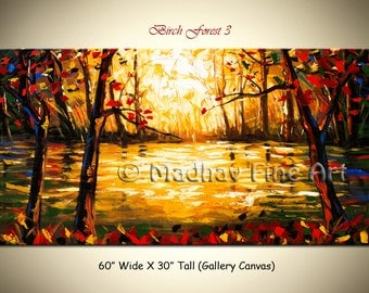 Abstract Original Forest Painting Landscape Large Fine Art on Canvas by Madhav -  Size: 60'' x 30''