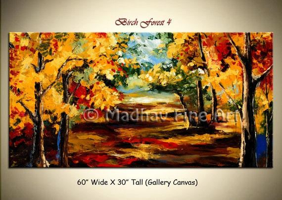 Contemporary wall art, Palette Knife Painting, Colorful tree painting, wall decor, home decor, Acrylic textured painting.  60'' x 30''