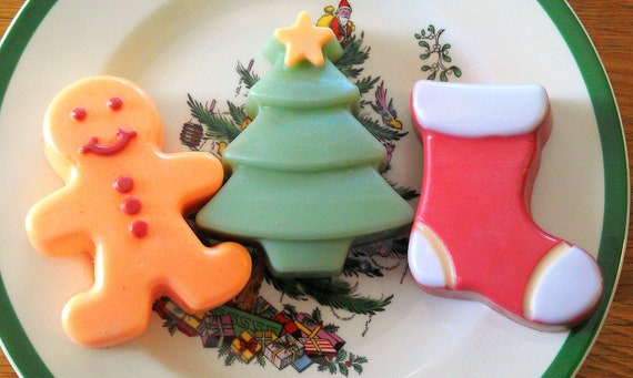 Christmas Soaps. Ginger Man Soap. Christmas Tree Soap. Stocking soap/Sodium Lauryl Sulfate/SLS Free Soap