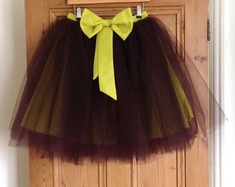HALF PRICE - Handmade Brown and Lime Green Romantic Ballerina Tutu Skirt