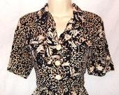 Vintage 80s 90s Indie Grunge Avant Garde Black & Gold Baroque Versace style Scarf Print Romper Jumpsuit Medium