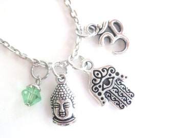 Hamsa Necklace Buddha Om Protection Jewelry Charm Necklace Yoga Jewelry Meditation Zen Namaste Evil Eye Earthy Unique Gift Under 50 Item T25
