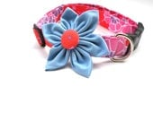 Large Pink Dog Collar with Flower Attachment