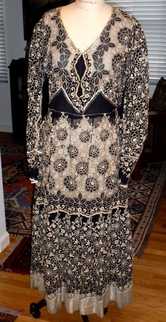 RESERVED FOR SHELLHUNTER Antique 1900s Deco Silk Tambour Embroidery Net Lace Dress Titanic Flapper Goth Steampunk Halloween Costume Theater