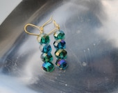 Blue with Green Tint Beaded Earrings