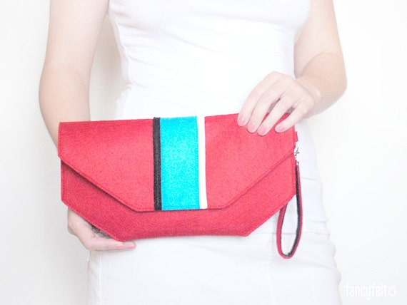SALE 20%OFF Red felt clutch bag with stripes