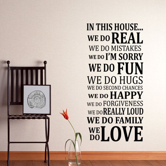 Quotes About Family For Wall Art : In this house rules wall decal sticker art vinyl by happywallz
