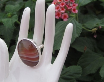 Sterling Silver Cinnamon Colored Agate Cabochon Ring