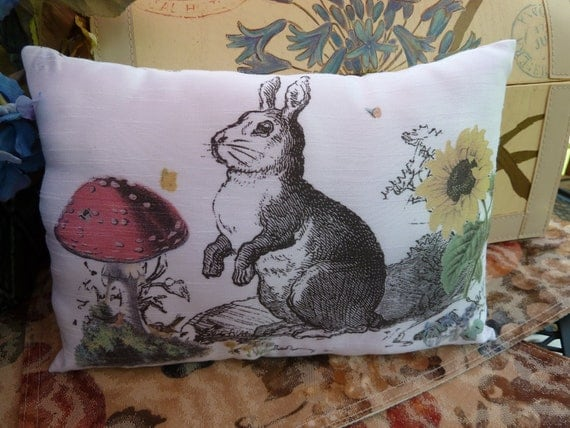 Vintage print of Rabbit w Birds and Toadstool Cushion