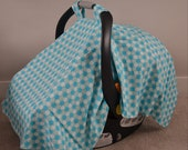 Blue Polka Dot Car seat Canopy