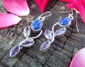Solid Sterling Silver Lapis and Amethyst Earrings