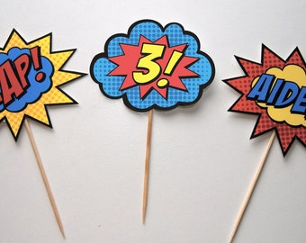Superhero Cupcake Toppers with Name & Age