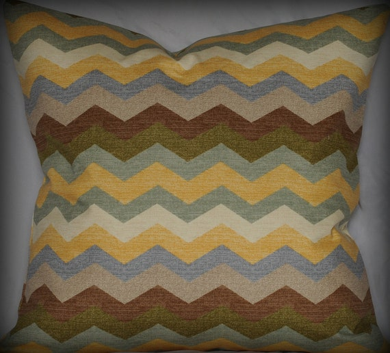 Panama Wave Pillow-Chevron- Zig Zag- Throw Pillow Cover- Multicolor-Blue, Yellow, Brown, Green, Gray, and Cream- 20x20inch- Designer Pillow