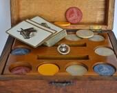 Vintage Poker Set in Oak Chest with Bakelite Chips c.1930