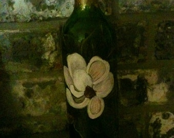 Wine Bottle with Magnolia