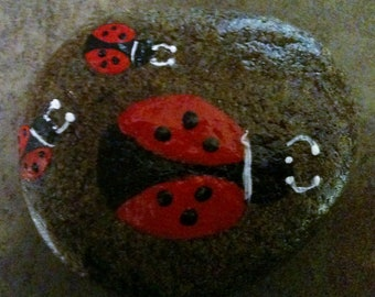 Painted rock with a ladybug family