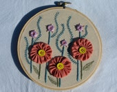 """Hand embroidered flowers wall art ready to hang in 6"""" hoop.  Modern folk art"""