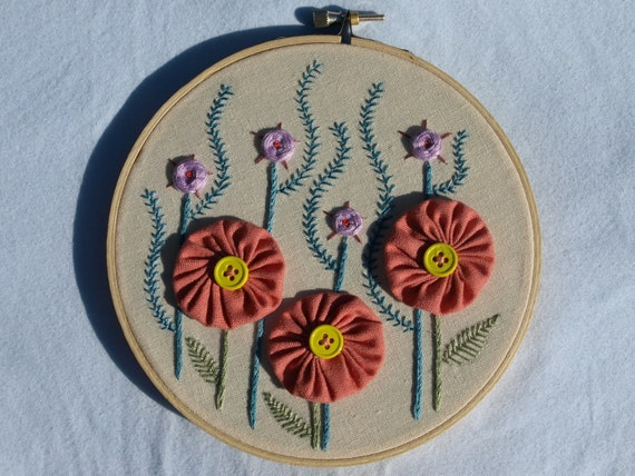 "Hand embroidered flowers wall art ready to hang in 6"" hoop.  Modern folk art"