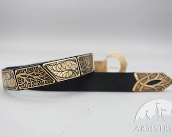"""20% DISCOUNT! Elven Belt with Leaves """"Knight of the West"""""""