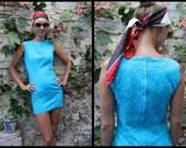 Vintage Clothing / 60s Turquoise Twiggy Dress /  XS  Size