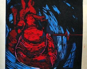 Blacklisted The Beat Goes On album single block reduction linocut print