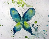 Abstract Watercolor Butterfly Art