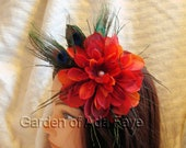 Flower Hair Pin with Peacock Feathers