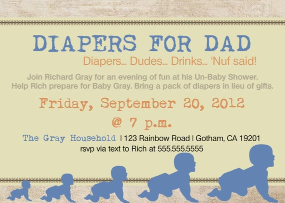 daddy diaper baby shower dad shower invitation