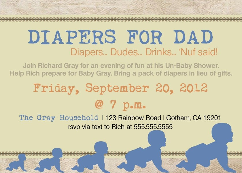 daddy diaper baby shower dad shower invitation by diconshadesigns