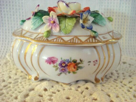 Vintage Royal Vienna Trinket Box Austrian Porcelain Beehive Mark