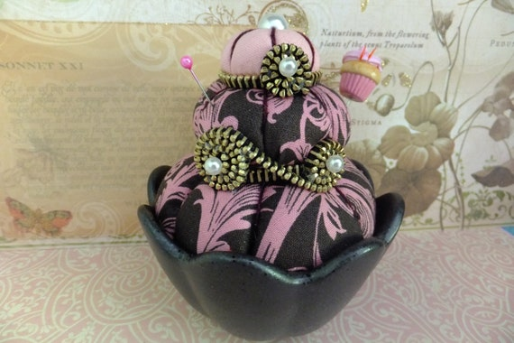 Chocolate and Pink Swirls Pincushion