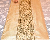 Decorative Table Runner, Table Runner, Embroidered Runner, Beige and Gold, 72 inches by 14 inches, Cream Table Runner, Sequins, Beaded