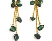 Women's earrings-women's jewelry-chained earrings-gold plated earrings-green earrings-dangle earrings-ruby earrings-long earrings