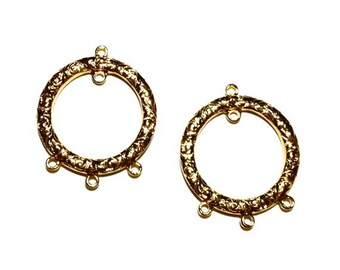 4 Gold Textured Hoops, 18k Gold Plate, 24 mm, Earring, Ear Wire