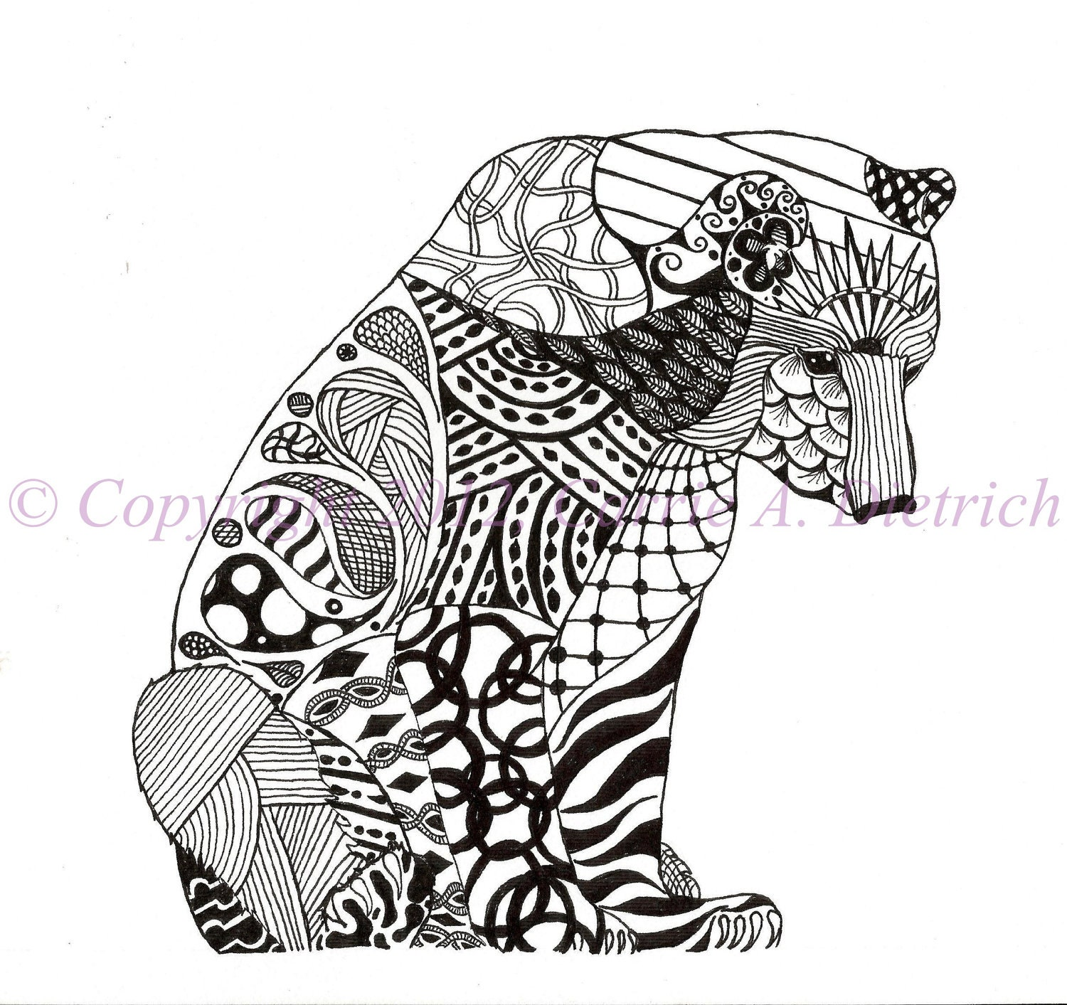 black and white art pen and ink animals by creationsbycarried