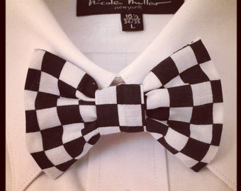 Black and White Checkered Bowtie / Bow Tie