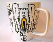 Dracula / Vampire themed Hand Painted Coffee Mug
