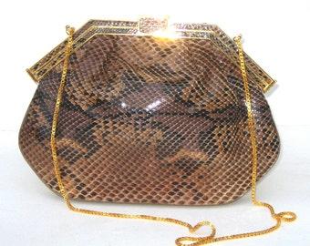 1980s Finesse la Model clutch - genuine python handbag - 1980s purse - 1980s snakeskin bag- 1980s evening bag - vintage evening bag
