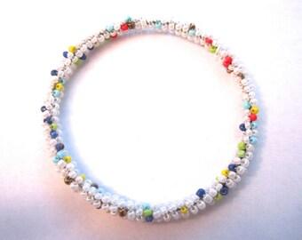 Handmade bangles in white beads / gifts for her / white bead bracelet