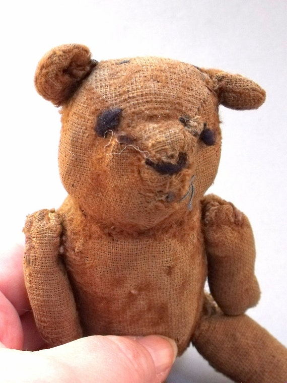 Antique or Vintage Small Teddy Bear that is Well Loved and in need of a Good Home