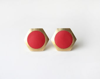 Red circle Geometric Hexagon stud earring -Large-