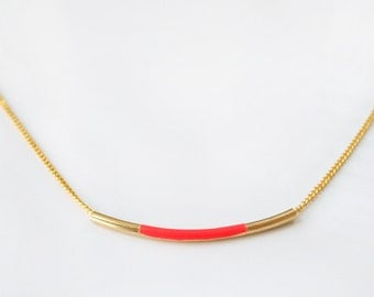 Neon Orange bar necklace
