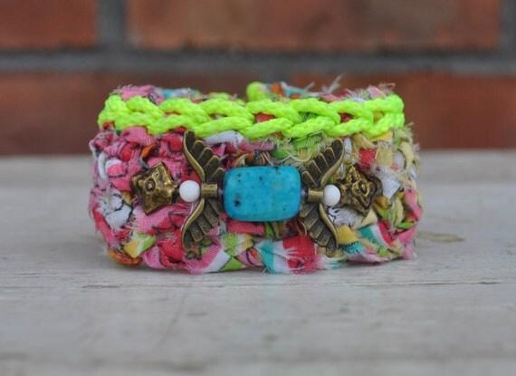 SALE / Crocheted Neon Bracelet / Summer Cuff